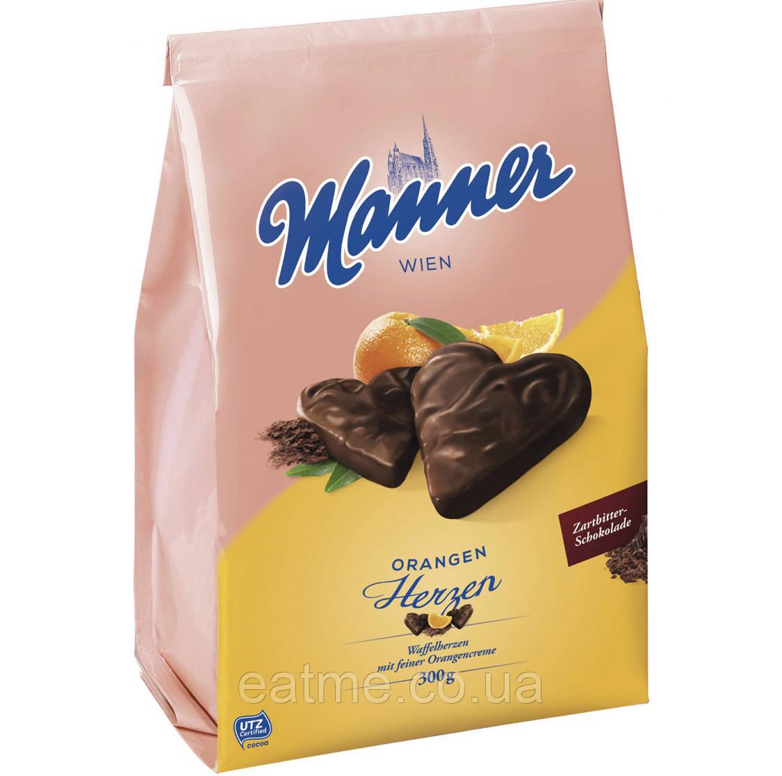 Вафли Manner Orangen Herze с апельсиновой начинкой в чёрном шоколаде