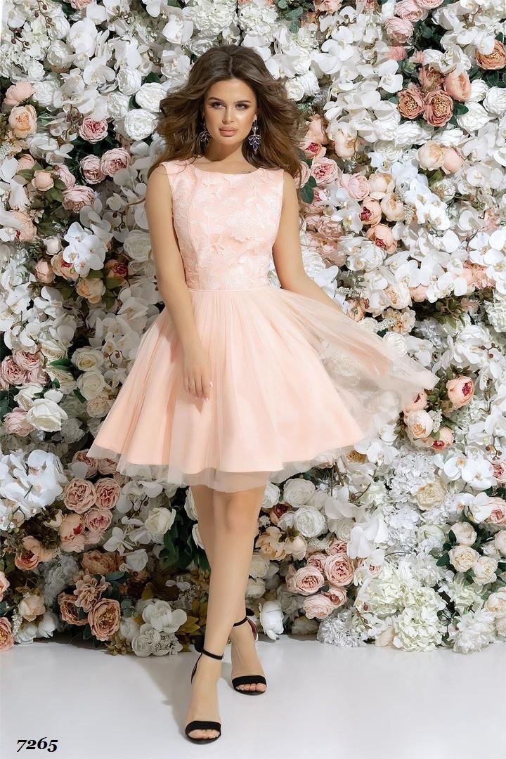 Платье вечернее пышное красивое гипюр+габардин+сетка 42,44,46