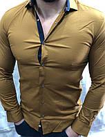 Рубашка мужская однотон 0936 Турция оптом