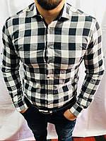 Рубашка мужская в клетку 0938 Турция оптом