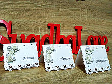 Банкетные карточки для рассадки гостей Rose. Цвет белый.