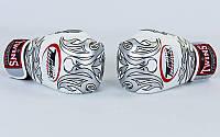 Оригинальные перчатки боксерские кожаные на липучке TWINS  (р-р 10-14oz, белый-серебряный)