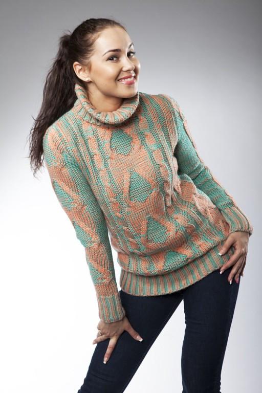 1ee23dd3309 Модный вязаный свитер с узором под горло от оптово-розничного ...