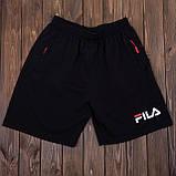 Чоловічі спортивні шорти (тканина-лакоста) FILA, чорного кольору, фото 3