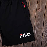 Чоловічі спортивні шорти (тканина-лакоста) FILA, чорного кольору, фото 4