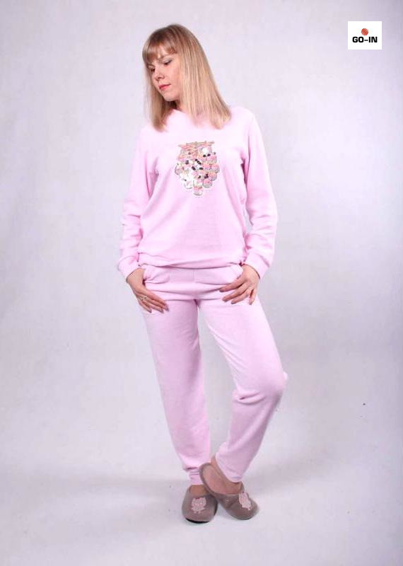 Пижама женская велюровая розовая, домашний теплый костюм