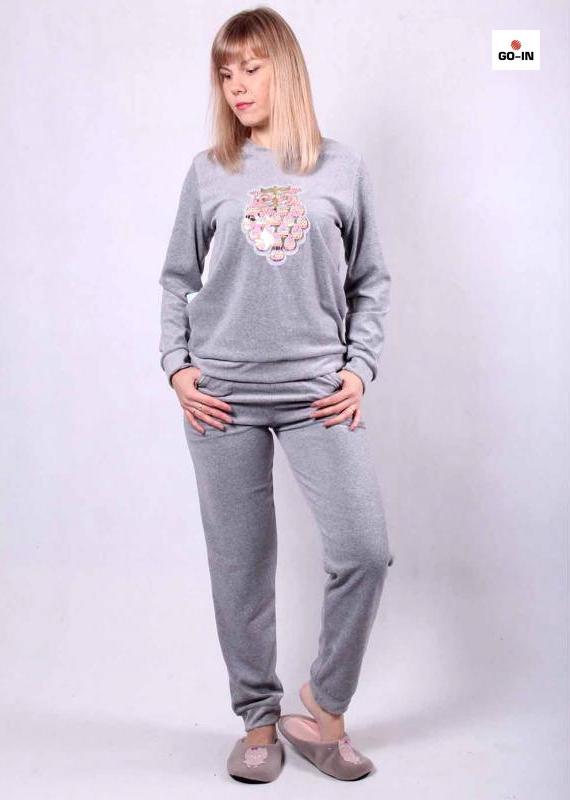 Пижама женская велюровая, домашний теплый костюм
