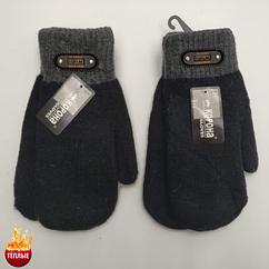 Шерстяные рукавицы мужские махровые двойные КОРОНА 8138 (25см) ПМЗ-160027