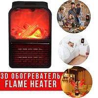 Электрообогреватель портативный с пультом Flame Heater 6730, с имитацией камина | мини обогреватель в розетку