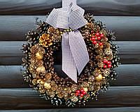 Новогодний, рождественский венок ручной работы, 30 см, фото 1