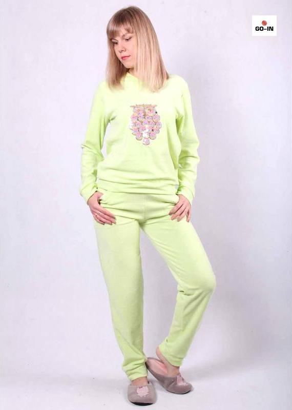 Теплый костюм для дома женский велюровый мятный 42-54р.