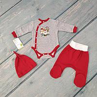 Комплект новогодний для новорожденного мальчика (футер)