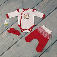 Комплект новогодний для новорожденной девочки (футер)