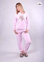 Піжама жіноча велюрова рожева, домашній теплий костюм 42-54р.