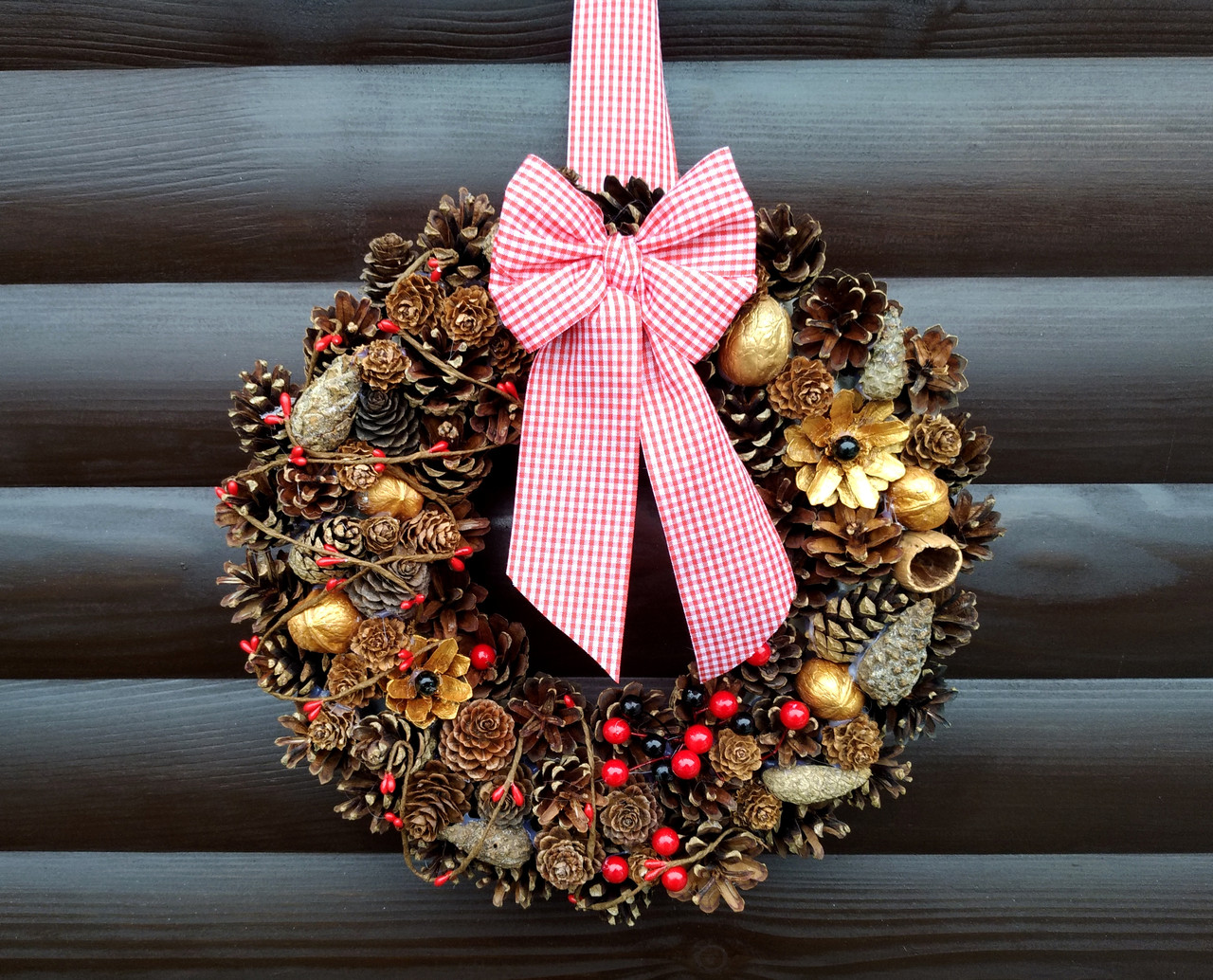 Рождественский венок, Новогодний венок ручной работы, 30 см, фото 1