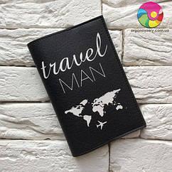 Обложка для паспорта Travel man (черный)