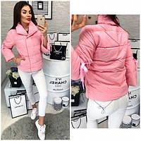 Куртка женская теплая с завязками 345 (холофайбер) Акция