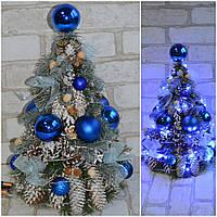 Искусственная новогодняя елка с украшениями и с лед подсветкой, выс. 42-45 см., 550 грн.