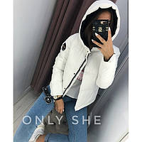 Стильная куртка зимняя женская с капюшоном 77255