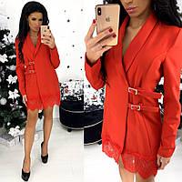 Платье-пиджак с кружевом на подоле (4 цвета) - АА/-1310, фото 1
