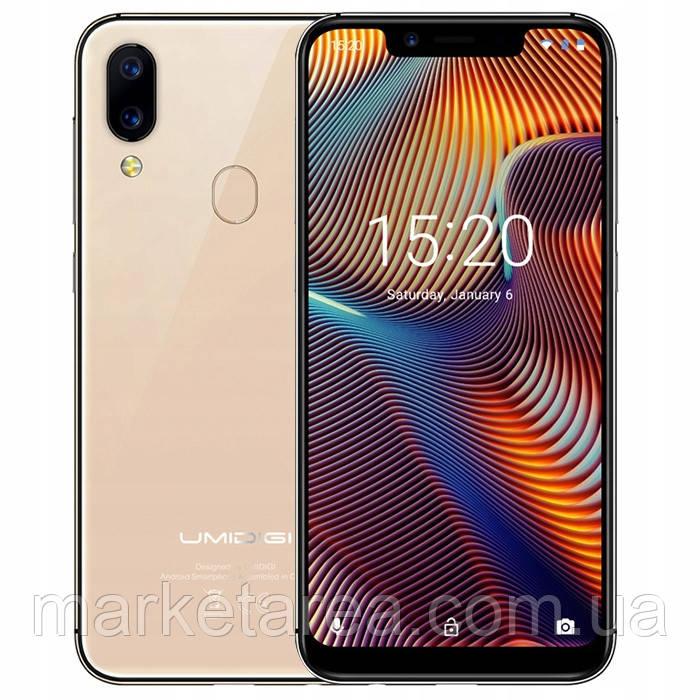 Смартфон золотистый с большим дисплеем и двойной камерой на 2 сим карты Umidigi A3 Pro 3/16Gb gold