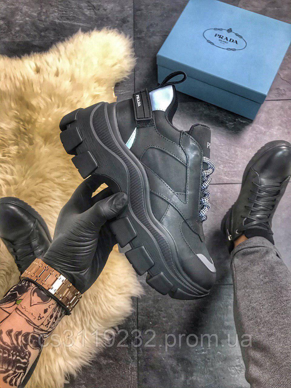 Женские кроссовки Prada (черные)