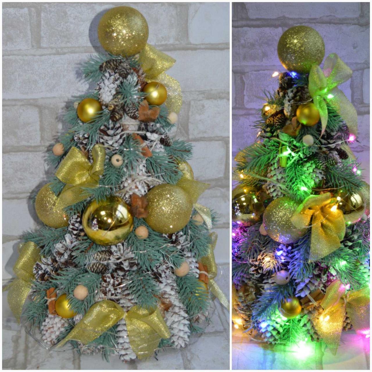 Елочка новогодняя с украшениями и с лед подсветкой, выс. 42-45 см., 550 грн.