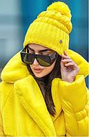 Оригинальная теплая зимняя шапка 244 ( ун. 54–58 см) в расцветках, фото 1