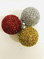 """Набор ёлочных игрушек """"Блестяшки"""" d=8 см (4 шт.) пластик, расцветка в ассортименте"""