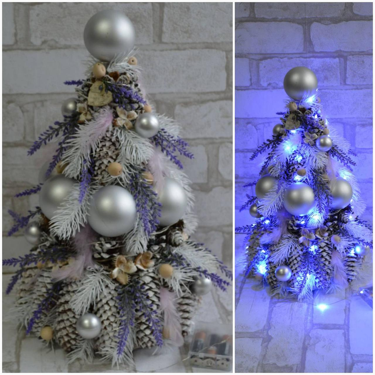 Шикарная новогодняя елка с украшениями и с лед подсветкой, выс. 42-45 см., 550 грн.