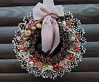 Рождественский венок, Новогодний венок ручной работы, 33 см, фото 1