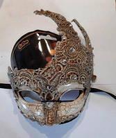 Маска венецианская карнавальная с камнями и кружевом