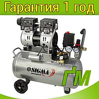 Компрессор двухцилиндровый безмасляный 1.1 кВт, 154 л/мин, 8 бар, 30 л SIGMA (2 крана), фото 1