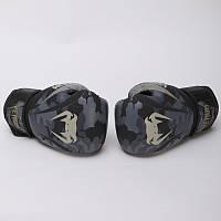 Перчатки боксерские кожаные на липучке  VENUM DARK CAMO/SAND (р-р 10-16oz)