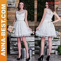 """Белое свадебное, вечернее короткое пышное платье """"Андреа"""""""