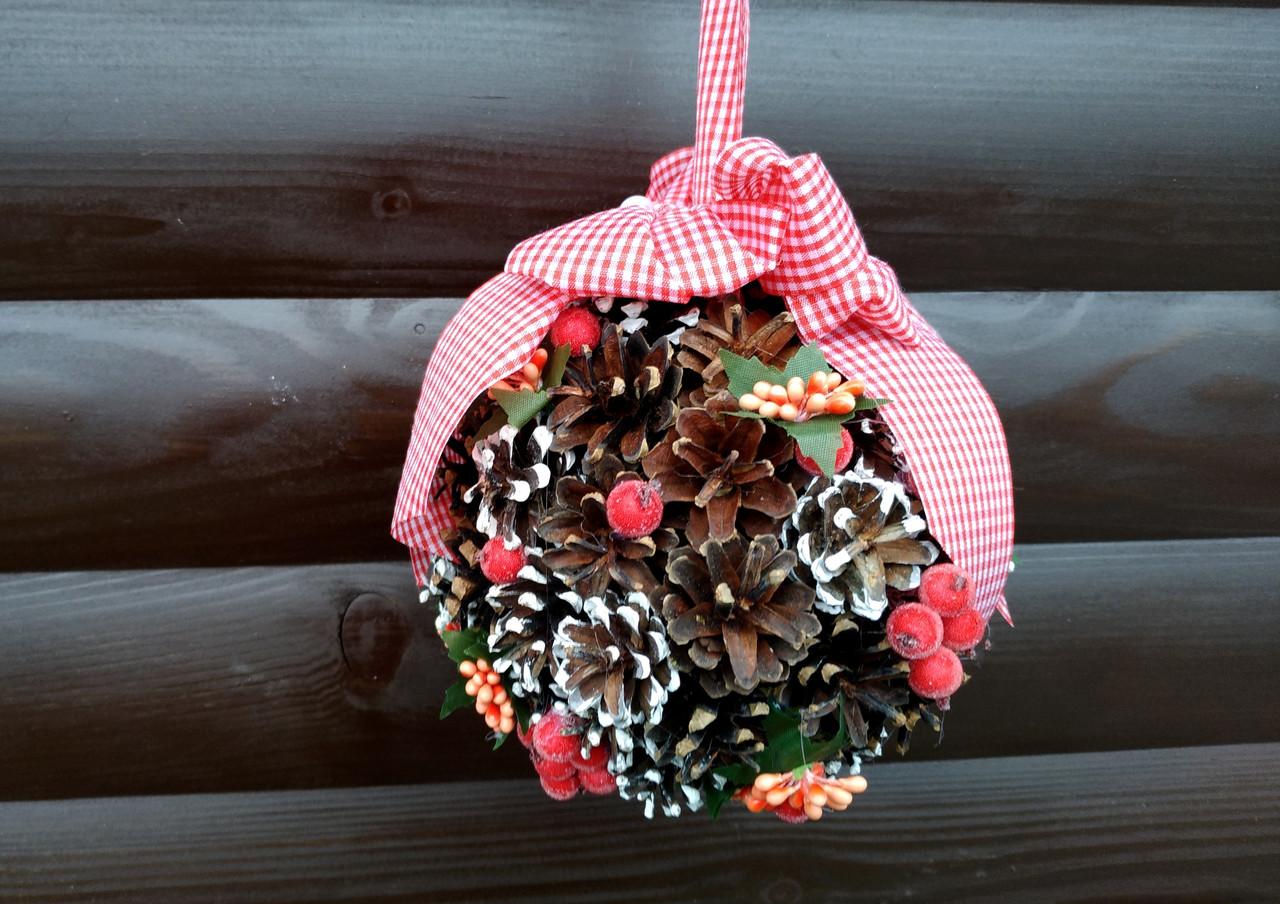 Подвесной шар из натуральных шишек, новогодний декор для дома, Рождественский декоративный шар, фото 1