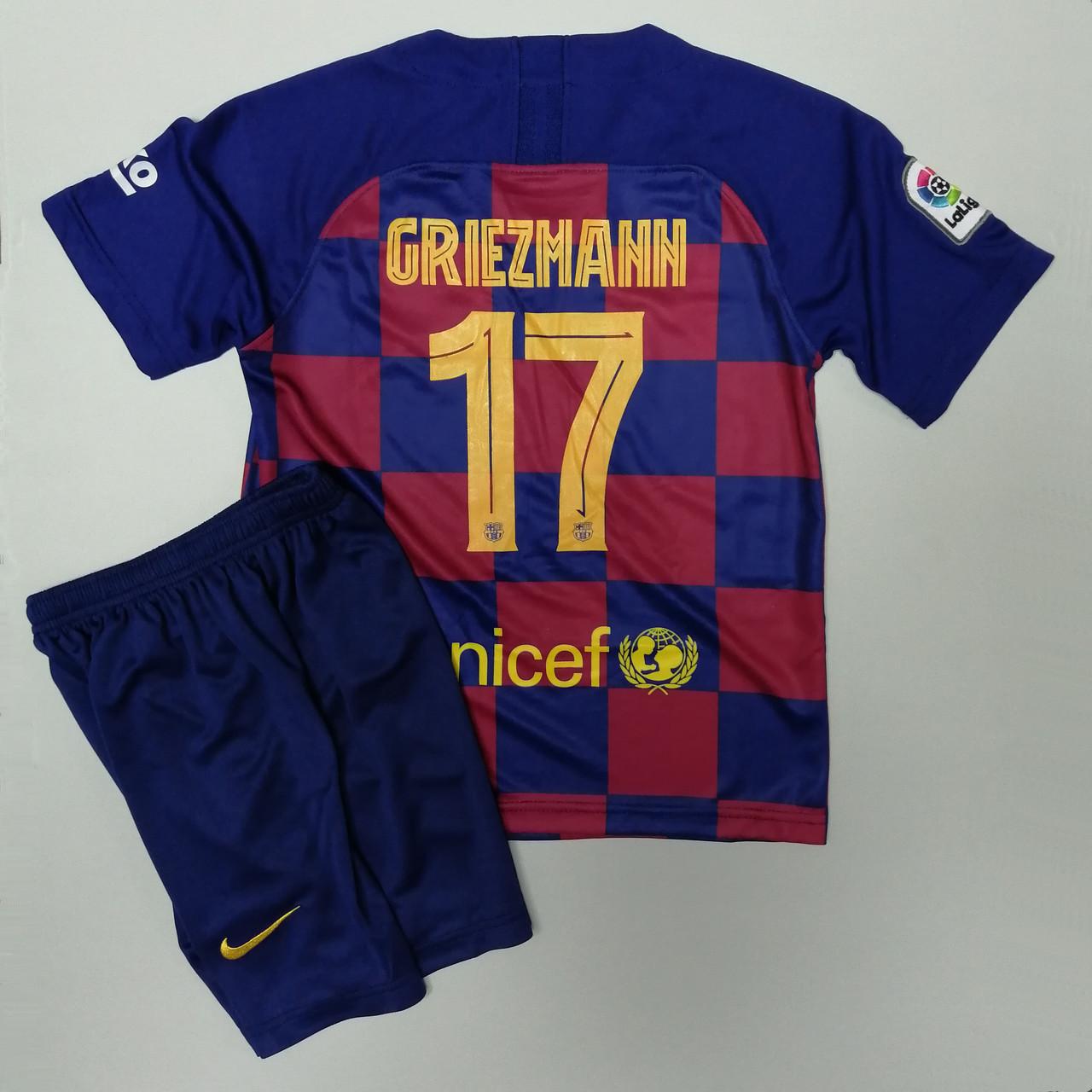 Футбольна форма детскаая Барселона Гризман 2019-2020 домашня синьо-бордова