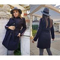 Кашемировое пальто женское большие размеры Лампасы 5037 бат
