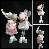 Розовый олень к Новому году, ручная работа, мальчик или девочка, выс. 46 см., 750 гр.