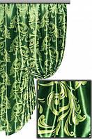 """Портьерная ткань блекаут Катрин """"Веточки"""", цвет ярко-зеленый (двусторонняя)"""