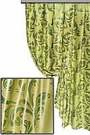 """Портьерная ткань блекаут Катрин """"Веточки"""", цвет оливково-салатовый (двусторонняя)"""