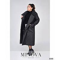 Куртка пальто женская стеганая большие размеры Минова 1690-1 бат