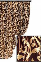 """Портьерная ткань блекаут Женева """"Мелкий завиток"""", цвет золото+шоколад (двусторонняя)"""