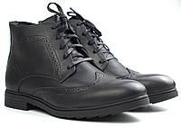 Зимние броги ботинки черные кожаные на овчине мужская обувь больших размер Rosso Avangard Brogues Lux Black BS, фото 1