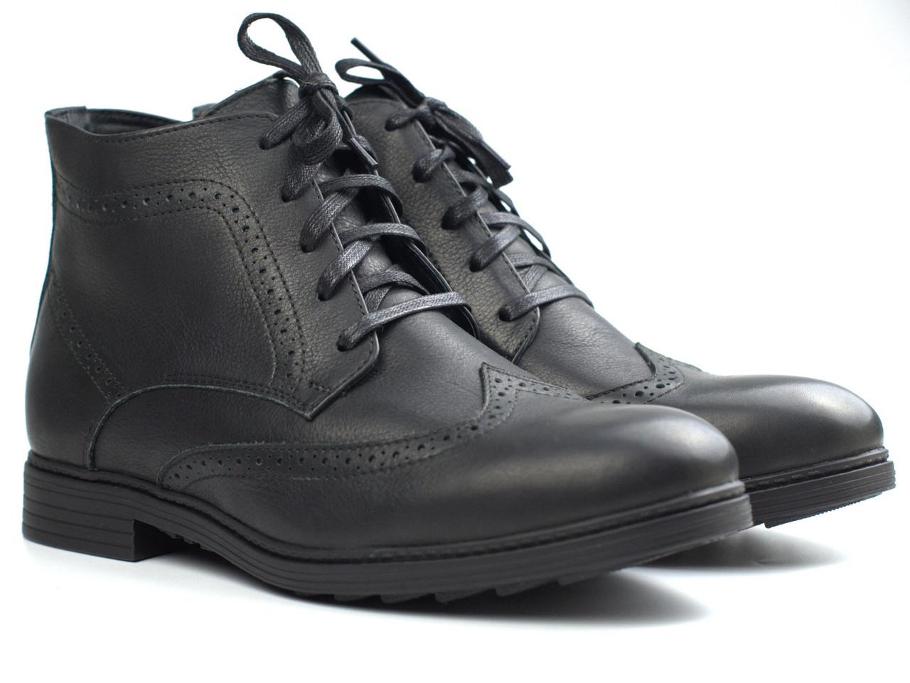 Зимние броги ботинки черные кожаные на овчине мужская обувь больших размер Rosso Avangard Brogues Lux Black BS