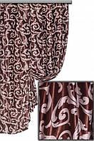 """Портьерная ткань блекаут Женева """"Мелкий завиток"""", цвет морозный беж+темный шоколад (двусторонняя)"""