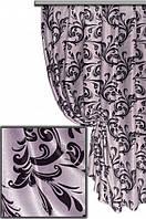 """Портьерная ткань блекаут Катрин """"Веточки"""", цвет серый+черный (двусторонняя)"""