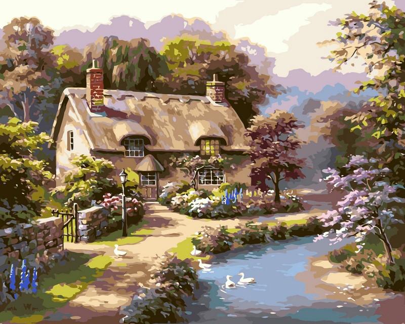 Картина для рисования по номерам Сельский пейзаж Лето в деревне 40х50см Babylon Turbo