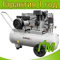 Компрессор двухцилиндровый ременной 2.5 кВт, 335 л/мин, 10 бар, 50 л SIGMA (2 крана), фото 1