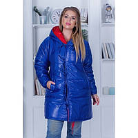 Зимняя куртка женская зефирка двухсторонняя большие размеры 65257-2 р 48-58